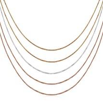 Multi Tone Sterling Silver 5-Strand Box Chain Necklace - $75.06