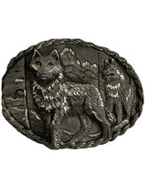 Vintage 1995 EJC Pewter Silver Tone Belt Buckle Wolf Wolves Mountains Ma... - $15.95
