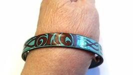 Brown on Turquoise Hand Made Porcelain Vintage Bangle Bracelet - $13.19