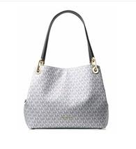 Michael Kors Women's Raven Large Leather Shoulder Bag (Optic White/Navy) - $278.00