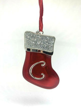 "ENAMELED METAL ""C"" MONOGRAM  XMAS STOCKING w/FINE EUROPEAN CRYSTAL XMAS ... - $9.88"