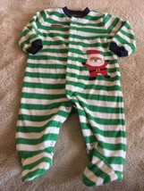 Child Of Mine Boys Green White Striped Santa Fleece Long Pajamas 3-6 Months - $5.00
