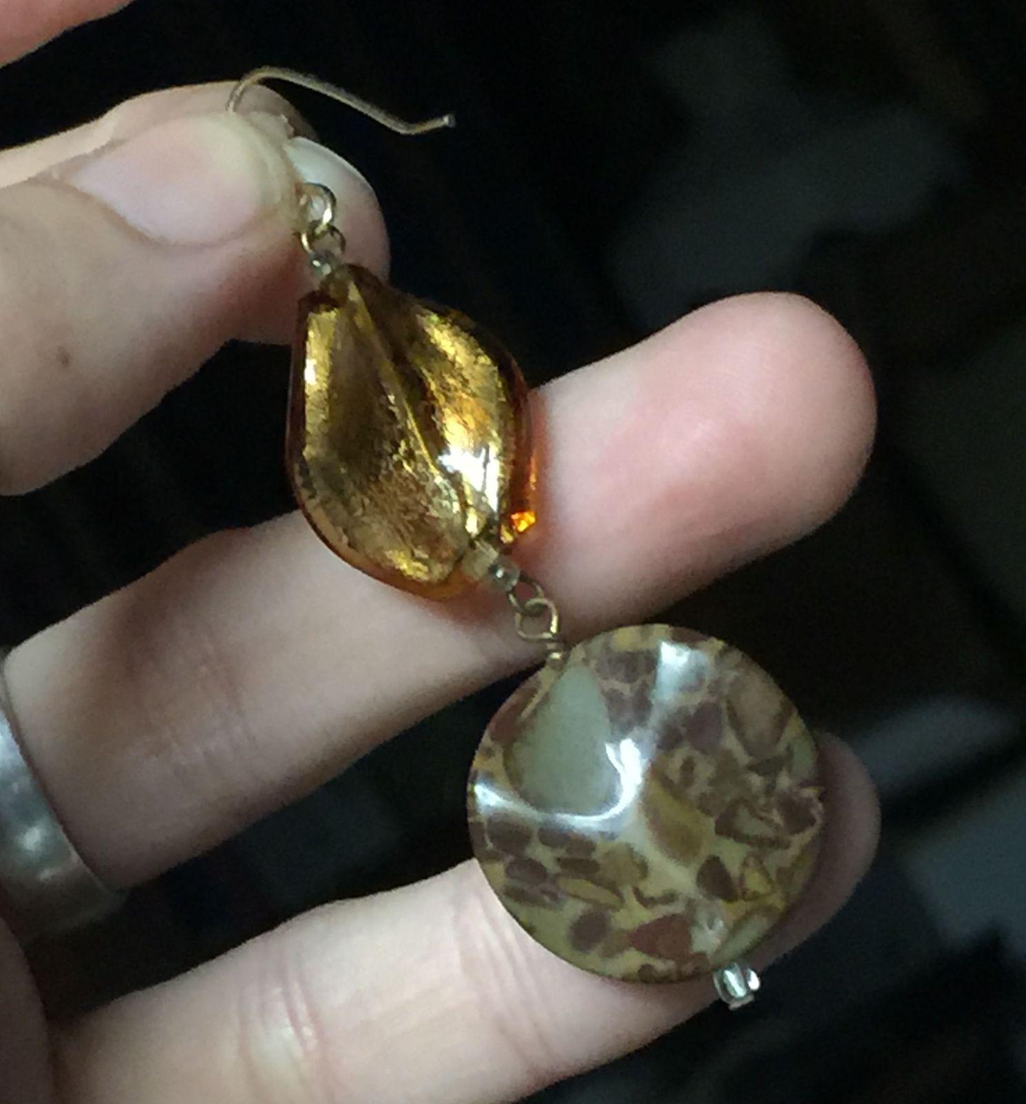 VTG Gold Metallic Brown Marble Look Plastic Beads Long Dangling Pierced Earrings image 4