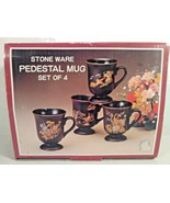 NEW, VINTAGE WOOLWORTH STONE WARE SET OF 4 MUGS YCHINA FLORAL MADE IN JAPAN - $19.95