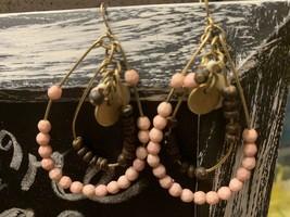 Pink And Brown Beaded Dangle Earrings - $6.80