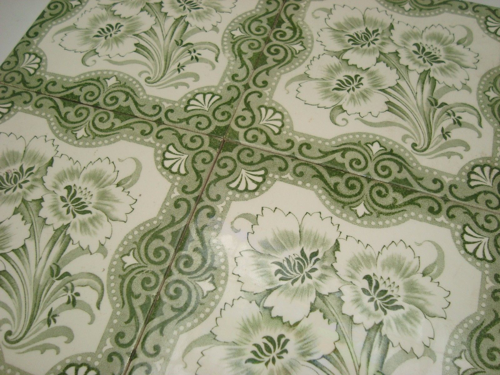 Set of 4 PAS CALAIS French original period Desvres antique tile c1890 LIS FLOWER