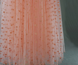 Peach Polka Dot Tulle Skirt Peach Tiered Party Tulle Skirt Holiday Outfit Plus  image 8