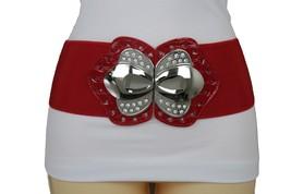 Hot Women Belt Fashion Red Fabric Big Silver Metal Bling Buckle Plus Size M L XL - $15.67