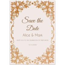 Gold Leaf Pink Save The Date Wedding Invitations - $26.29 CAD