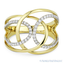 0.31 ct Round Cut Diamond Right-Hand Overlap Loop Wrap Ring in 14k Yello... - $999.99