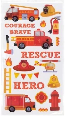 Recollections Fire Truck Epoxy 3-D Stickers, 21 Pieces