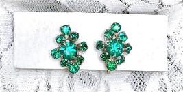 Vintage Silver tone Emerald Green Rhinestone Screw-back tighten closer E... - $14.85