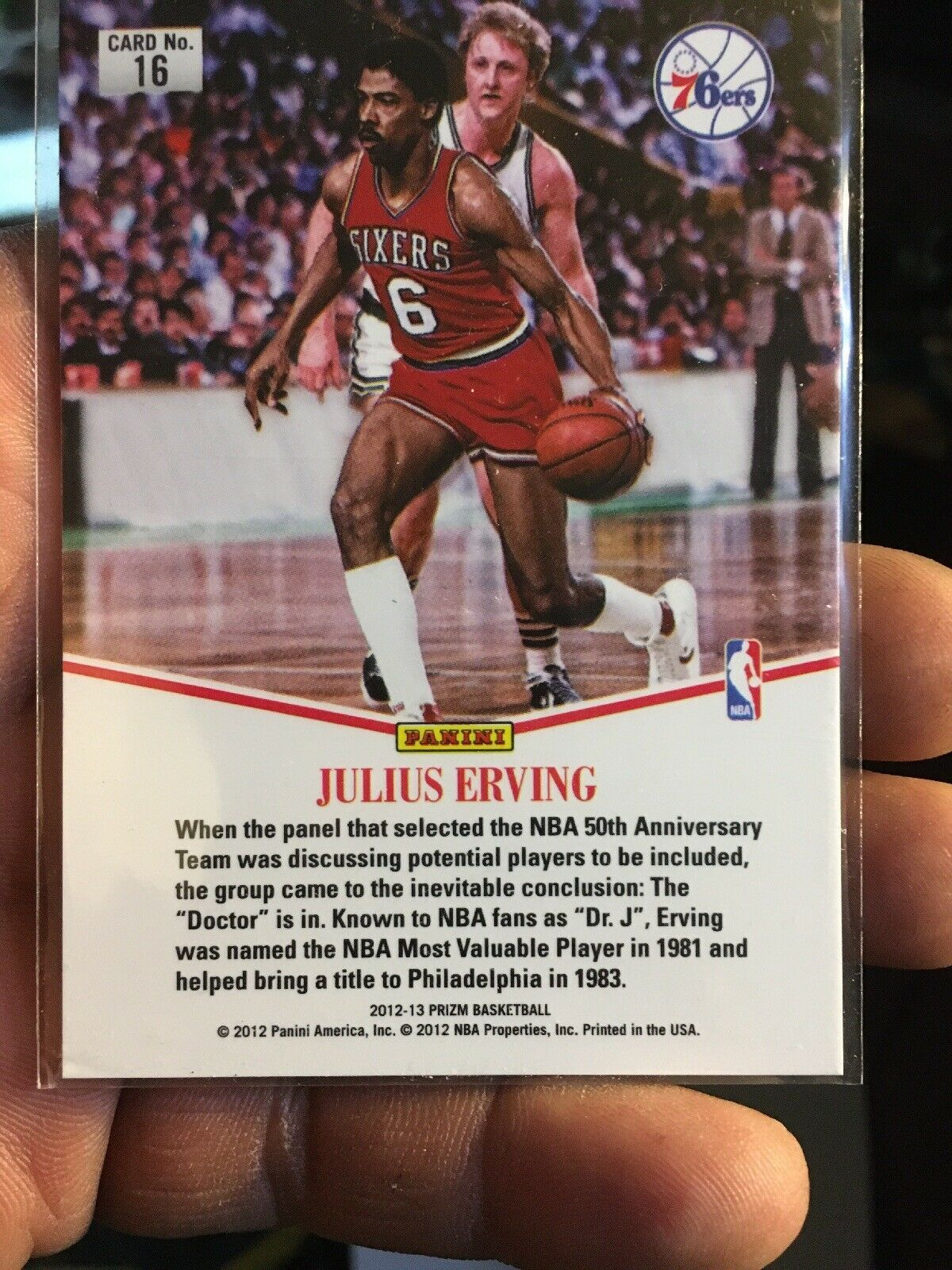 2012-13 Panini  Julius Erving #16 silver Basketball Card image 2