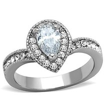 MJS 1 CT Silver Stainless Steel Pear Pave CZ Engagement Bridal Ring Size... - $12.51