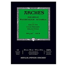 Canson Arches Cold Press Watercolor Pad, 10 x 14 Inch, 12 Sheets - $27.23