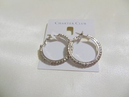 "Charter Club 1-3/8"" Silver Tone Crystal Hoop Earrings S124 $34 - $12.47"