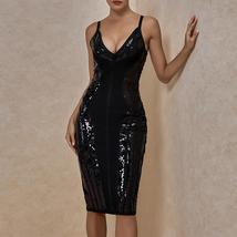 Sexy Deep v Neck Black Bandage Dress Bodycon Spaghetti Strap Club Party Dress image 4