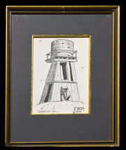Water Tower - Ink Drawing by Raymond Ayers - $20.00