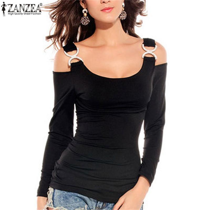 Primary image for S-4XL ZANZEA 2018 Summer Off Shoulder Tops Women Sexy Strap Long Sleeve Blouses