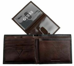 New Guess Men's Leather Credit Card Id Wallet Passcase Bifold Black 31GU22X018 image 11
