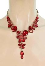Floret Noche Boda Y Set Pendientes y Collar Rojo Cristales Traje Joyería - $35.86