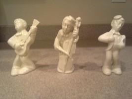 Vintage White Porcelain Musicians - Cello, Guitar, Singer, Marked, Germany? - $24.75