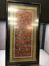 Chinese Silk Embroidered 100 Children Tapestry Framed Art Orange Background - $103.94