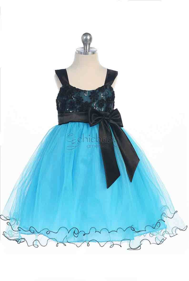 Stunning Girl's Chic Turquoise/Black Flower Girl Pageant Party Dress, USA