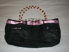 Sanrio Hello Kitty Handbag Purse Beaded Denim Jeans Handmade Cloth Ribbo... - $19.99