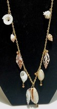 "Cookie Lee Genuine Shell 42"" Long Necklace Beach Tropical Goldtone - $14.85"