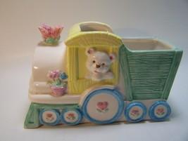 Ceramic Planter Baby Nursery Train Flowers Hearts Blue Green Yellow Pink... - $12.19