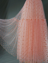Peach Polka Dot Tulle Skirt Peach Tiered Party Tulle Skirt Holiday Outfit Plus  image 5