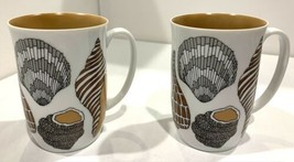 Neiman Marcus / Fitz and Floyd Porcelain Seashells Coffee Mugs - $23.75