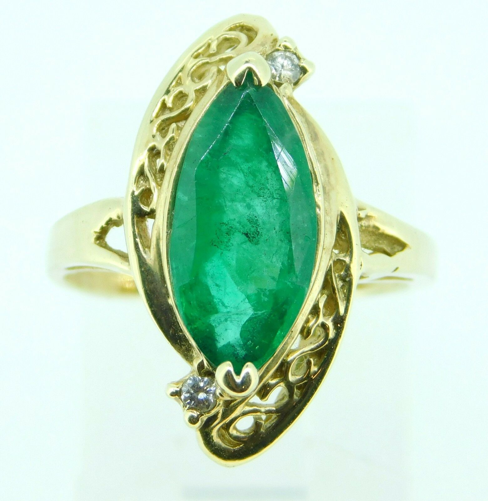 Primary image for 14k 2.25ct Marquise Genuine Natural Emerald Ring with Diamonds (#J4300)