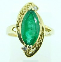 14k 2.25ct Marquise Genuine Natural Emerald Ring with Diamonds (#J4300) - $1,295.00