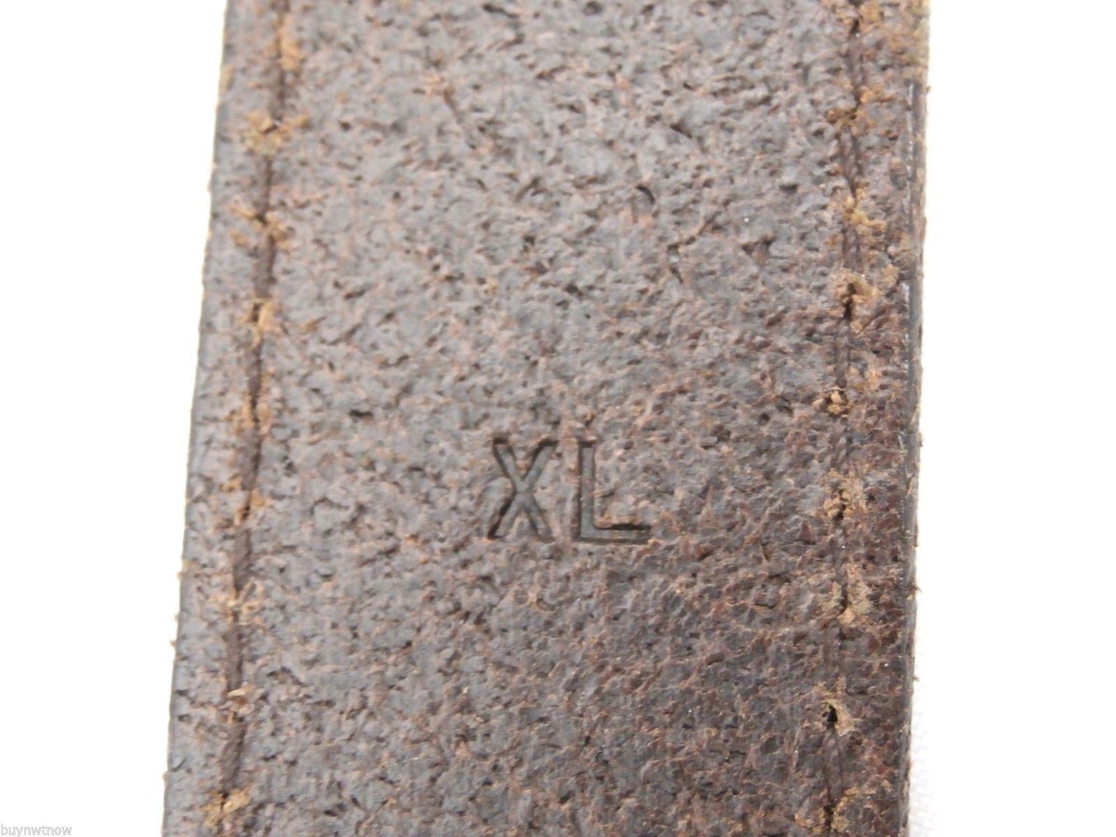 LRL Lauren Ralph Lauren Brown Leather Belt Brass Buckle XL Italian