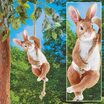 Swinging Bunny Garden Statue Décor - Textured and Hand-Painted Yard Décor  - $32.41