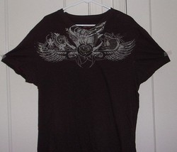 American Rag Cie Mens XL 100% Cotton Brown Short Sleeve Graphic T Shirt - $13.46