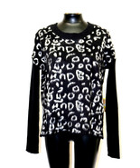 Rachel Rachel Roy Sweater Animal Print Combo Scoop Neck Black Combo Szie... - $54.98