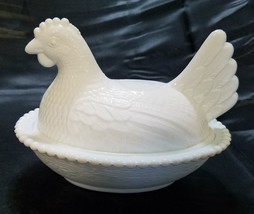 Vintage Indiana Milk Glass Nesting Hen Candy Dish - $18.00