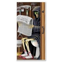 Funny GRIM REAPER TOILET BATHROOM WALL DOOR COVER Fun Halloween Party De... - $7.89
