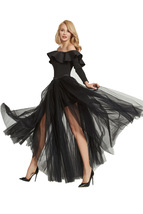 Black Pink White Slit Tulle Skirt High Waisted Full Length Slit Tulle Maxi Skirt image 4