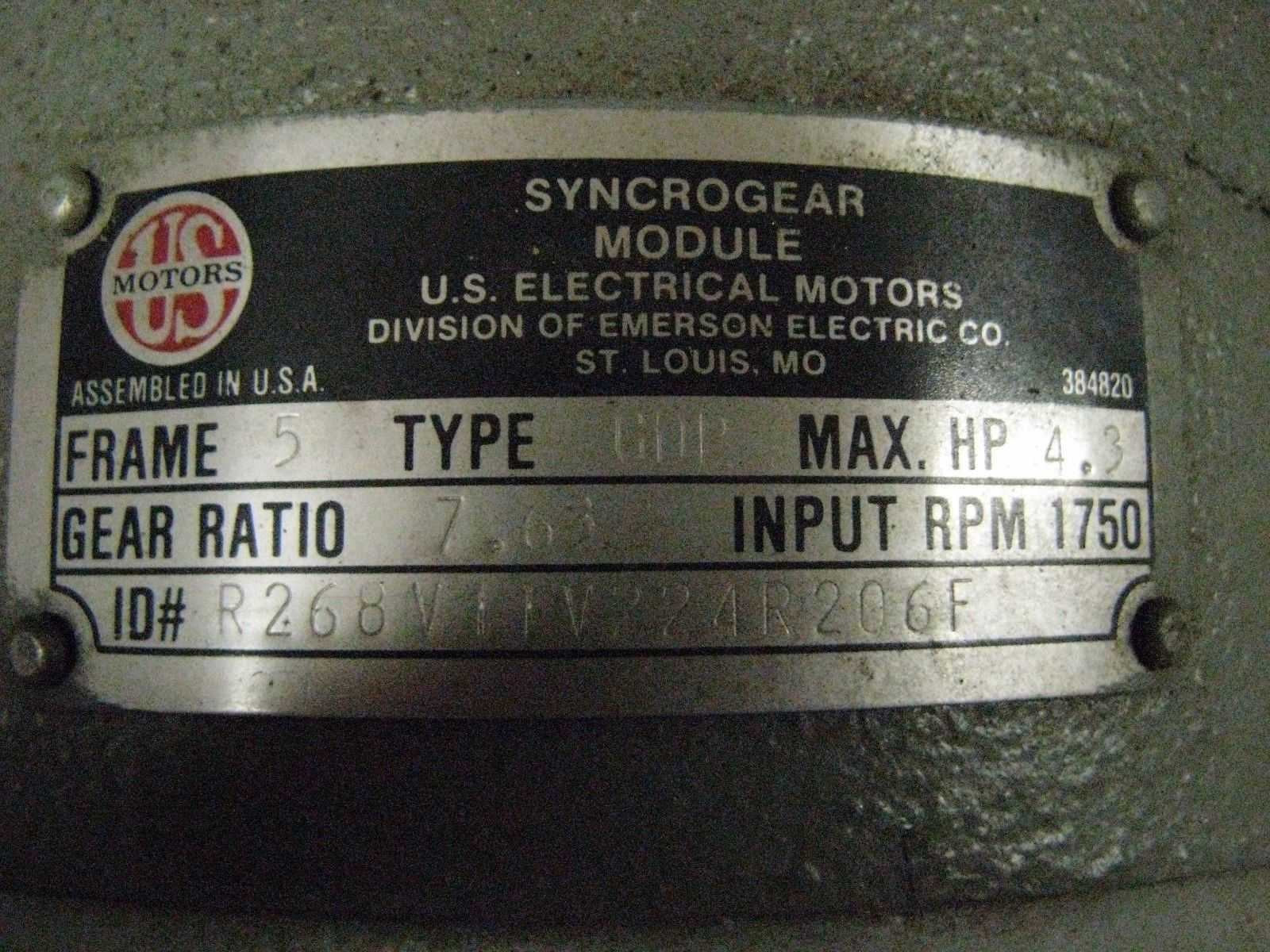 Us electric syncrogear motor 1 hp 7631 and 50 similar items us electric syncrogear motor 1 hp 7631 ratio 230460 publicscrutiny Image collections