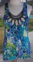 Sleeveless Bongo Shirt Macrame & Ruffle Trim Neckline Cute Back Sz. M - $23.75