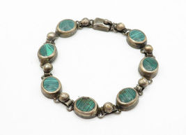 MEXICO 925 Silver - Vintage Malachite Inlay Round Link Chain Bracelet - B6191 image 3