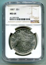 1887 MORGAN SILVER DOLLAR NGC MS 64 NICE ORIGINAL COIN PREMIUM QUALITY PQ - $89.00