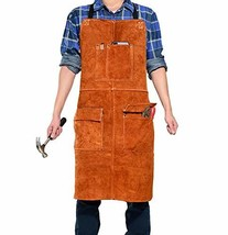 LEASEEK Leather Welding Work Apron - Heat Resistant & Flame Resistant Bi... - $32.22