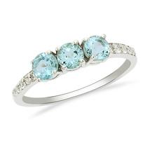 Amazing Three Blue Topaz Gemstone 925 Silver Stackable Eternity Women Ba... - $14.18