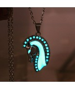 Link Chain Alloy Metal Necklace With Head OF Horse Glow In The Dark Pend... - $8.90