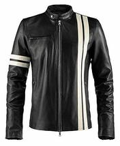 Driver San Francisco Black With White Stripes Leather Jacket image 1